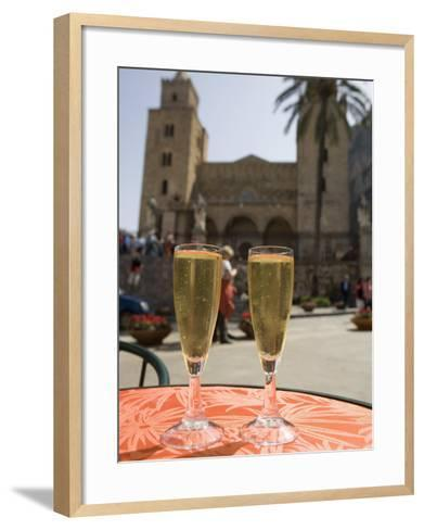 Prosecco Wine on Cafe Table, Cathedral Behind, Piazza Duomo, Cefalu, Sicily, Italy, Europe-Martin Child-Framed Art Print