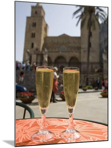 Prosecco Wine on Cafe Table, Cathedral Behind, Piazza Duomo, Cefalu, Sicily, Italy, Europe-Martin Child-Mounted Photographic Print