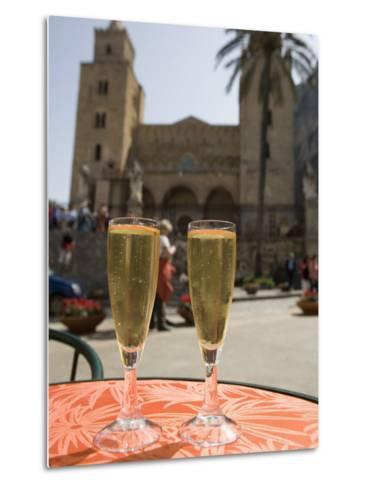Prosecco Wine on Cafe Table, Cathedral Behind, Piazza Duomo, Cefalu, Sicily, Italy, Europe-Martin Child-Metal Print