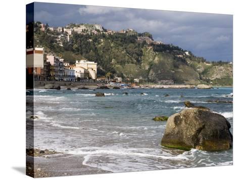 Shoreline and Beach, Giardini Naxos, View of Taormina, Sicily, Italy, Mediterranean, Europe-Martin Child-Stretched Canvas Print