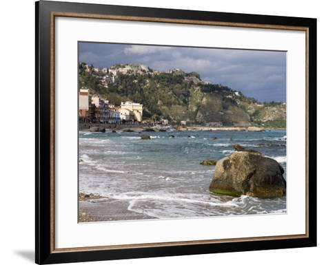 Shoreline and Beach, Giardini Naxos, View of Taormina, Sicily, Italy, Mediterranean, Europe-Martin Child-Framed Art Print