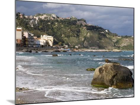 Shoreline and Beach, Giardini Naxos, View of Taormina, Sicily, Italy, Mediterranean, Europe-Martin Child-Mounted Photographic Print