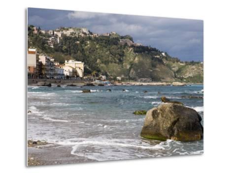 Shoreline and Beach, Giardini Naxos, View of Taormina, Sicily, Italy, Mediterranean, Europe-Martin Child-Metal Print