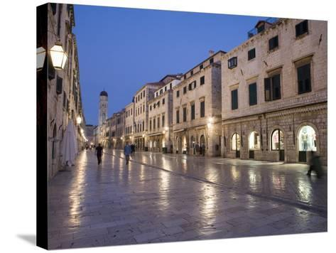 Stradun Street, Tower of the Church of St. Saviour, Dubrovnik Old Town, Dalmatia, Croatia-Martin Child-Stretched Canvas Print