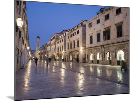 Stradun Street, Tower of the Church of St. Saviour, Dubrovnik Old Town, Dalmatia, Croatia-Martin Child-Mounted Photographic Print