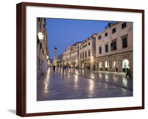 Stradun Street, Tower of the Church of St. Saviour, Dubrovnik Old Town, Dalmatia, Croatia-Martin Child-Framed Art Print