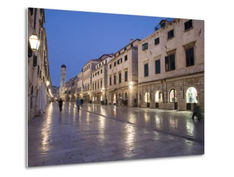 Stradun Street, Tower of the Church of St. Saviour, Dubrovnik Old Town, Dalmatia, Croatia-Martin Child-Metal Print