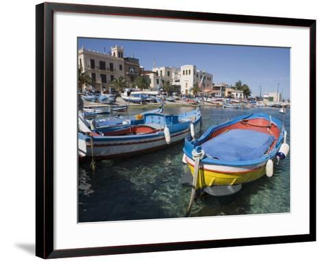 Traditional Fishing Boats, Harbour, Mondello, Palermo, Sicily, Italy, Mediterranean, Europe-Martin Child-Framed Art Print
