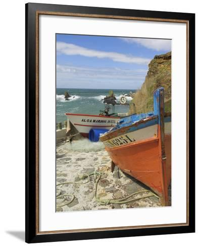 Traditional Portuguese Fishing Boats in a Small Coastal Harbour, Beja District, Portugal-Neale Clarke-Framed Art Print