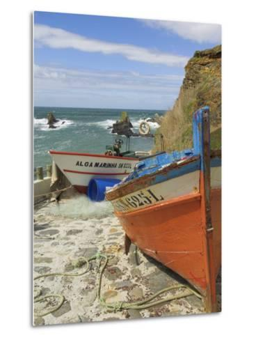 Traditional Portuguese Fishing Boats in a Small Coastal Harbour, Beja District, Portugal-Neale Clarke-Metal Print