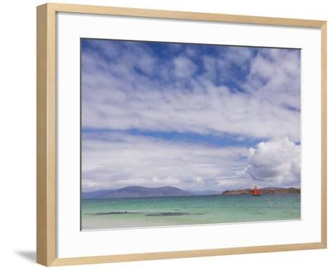 Boat with Red Sails Off Traigh Bhan Beach, Iona, Sound of Iona, Scotland, United Kingdom, Europe-Neale Clarke-Framed Art Print