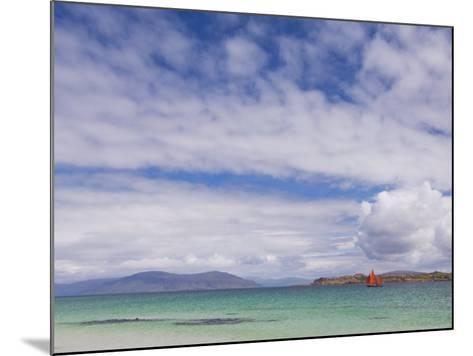 Boat with Red Sails Off Traigh Bhan Beach, Iona, Sound of Iona, Scotland, United Kingdom, Europe-Neale Clarke-Mounted Photographic Print