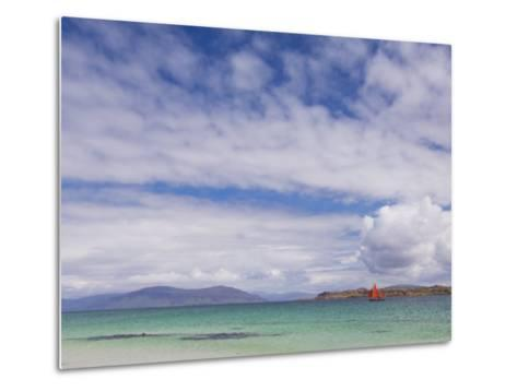Boat with Red Sails Off Traigh Bhan Beach, Iona, Sound of Iona, Scotland, United Kingdom, Europe-Neale Clarke-Metal Print