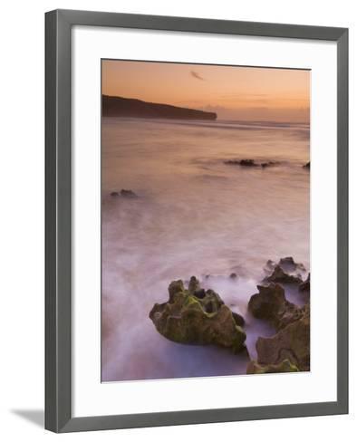 Sunset over Blurred Milky Water, Amoreira Beach Near Alzejur, Algarve, Portugal, Europe-Neale Clarke-Framed Art Print