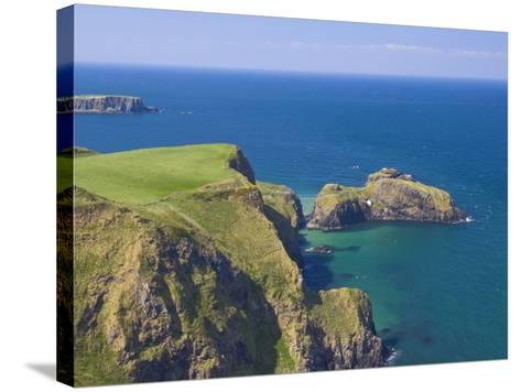 Carrick-A-Rede Rope Bridge to Carrick Island, Larrybane Bay, County Antrim, Northern Ireland-Neale Clarke-Stretched Canvas Print