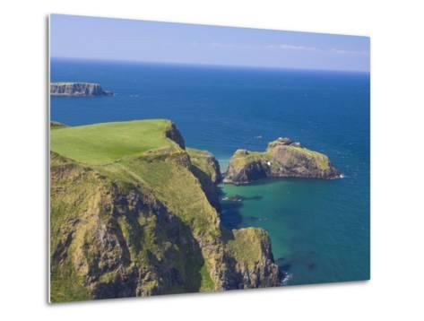 Carrick-A-Rede Rope Bridge to Carrick Island, Larrybane Bay, County Antrim, Northern Ireland-Neale Clarke-Metal Print