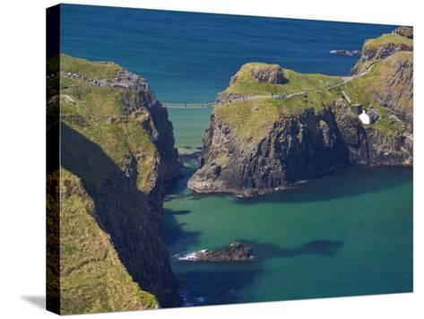 Carrick-A-Rede Rope Bridge to Carrick Island, Larrybane Bay, County Antrim, Ulster-Neale Clarke-Stretched Canvas Print