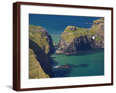 Carrick-A-Rede Rope Bridge to Carrick Island, Larrybane Bay, County Antrim, Ulster-Neale Clarke-Framed Art Print