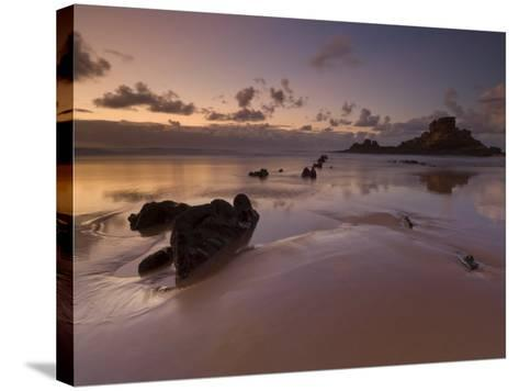 Sunset and Low Evening Light on the Rocks, Castelejo Beach, Near Vila Da Bispo, Algarve, Portugal-Neale Clarke-Stretched Canvas Print