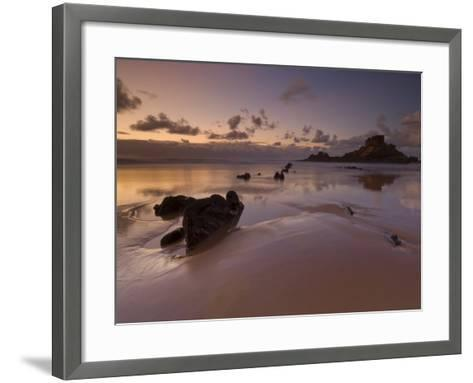 Sunset and Low Evening Light on the Rocks, Castelejo Beach, Near Vila Da Bispo, Algarve, Portugal-Neale Clarke-Framed Art Print