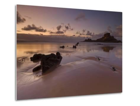 Sunset and Low Evening Light on the Rocks, Castelejo Beach, Near Vila Da Bispo, Algarve, Portugal-Neale Clarke-Metal Print