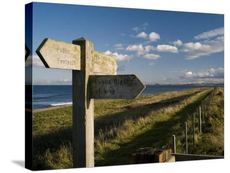 Public Footpath Sign on Lindisfarne, Northumberland, England, United Kingdom, Europe-Rob Cousins-Stretched Canvas Print