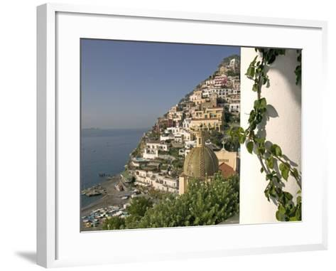 Positano, View from Hotel Sirenuse, Amalfi Coast, UNESCO World Heritage Site, Campania, Italy-Marco Cristofori-Framed Art Print