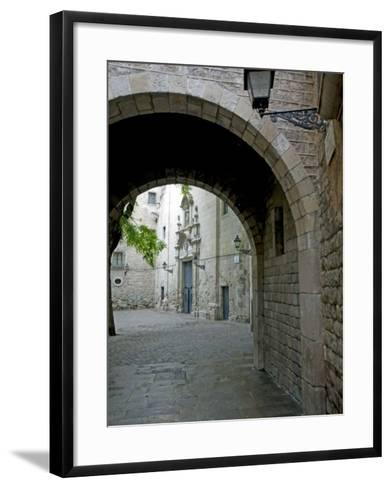 Signs of the Civil War in Sant Felip Neri Square, Gothic Quarter, Barcelona, Catalonia, Spain-Marco Cristofori-Framed Art Print