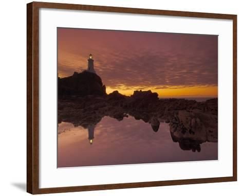Dramatic Sunset and Low Tide, Corbiere Lighthouse, St. Ouens, Jersey, Channel Islands, UK-Neale Clarke-Framed Art Print