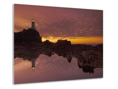 Dramatic Sunset and Low Tide, Corbiere Lighthouse, St. Ouens, Jersey, Channel Islands, UK-Neale Clarke-Metal Print