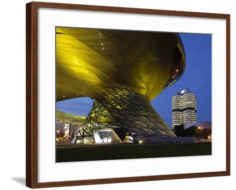 Bmw Welt and Headquarters Illuminated at Night, Munich, Bavaria, Germany, Europe-Gary Cook-Framed Art Print