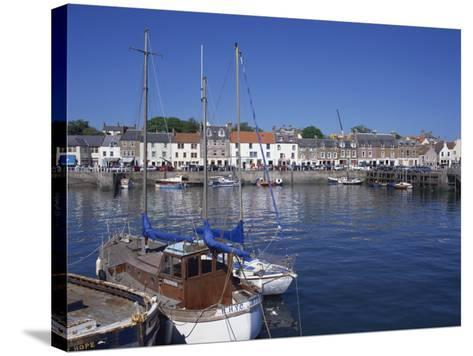 Boats on Water and Waterfront at Neuk of Fife, Anstruther, Scotland, United Kingdom, Europe-Kathy Collins-Stretched Canvas Print