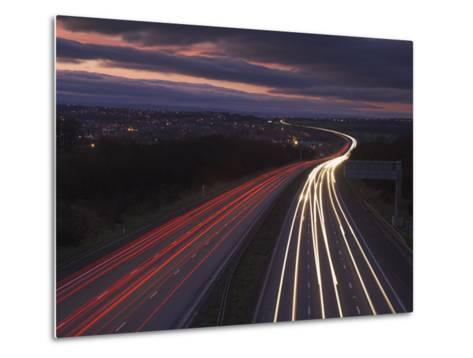 Traffic Light Trails in the Evening on the M1 Motorway Near Junction 28, Derbyshire, England, UK-Neale Clarke-Metal Print