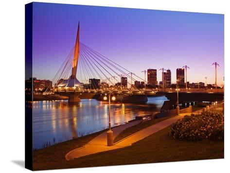 Esplanade Riel Bridge over the Red River, Winnipeg, Manitoba, Canada, North America-Richard Cummins-Stretched Canvas Print