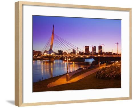 Esplanade Riel Bridge over the Red River, Winnipeg, Manitoba, Canada, North America-Richard Cummins-Framed Art Print