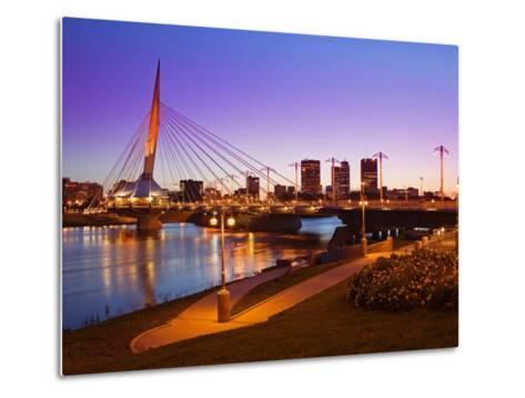 Esplanade Riel Bridge over the Red River, Winnipeg, Manitoba, Canada, North America-Richard Cummins-Metal Print