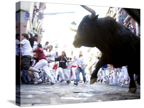 Running of the Bulls, San Fermin Festival, Pamplona, Navarra, Spain, Europe-Marco Cristofori-Stretched Canvas Print