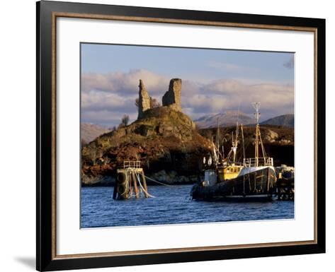 Ruins of Castle Moil and Fishing Harbour at Kyleakin, Skye, Inner Hebrides, Highlands, Scotland-Patrick Dieudonne-Framed Art Print