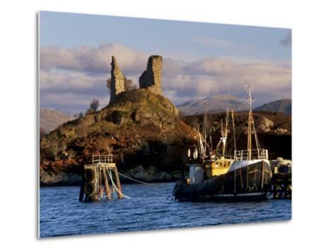 Ruins of Castle Moil and Fishing Harbour at Kyleakin, Skye, Inner Hebrides, Highlands, Scotland-Patrick Dieudonne-Metal Print