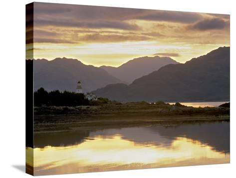 Isleornsay and Lighthouse, Knoydart Mountains Behind, Isle of Skye, Inner Hebrides, Scotland, UK-Patrick Dieudonne-Stretched Canvas Print