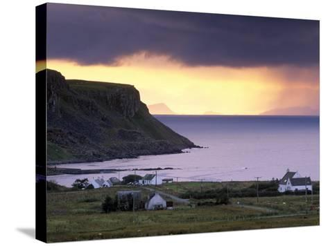 Sunset and Stormy Weather Near Bornesketaig, Trotternish, Isle of Skye, Inner Hebrides, Scotland-Patrick Dieudonne-Stretched Canvas Print