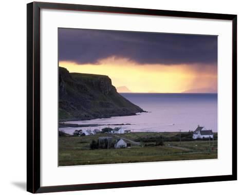 Sunset and Stormy Weather Near Bornesketaig, Trotternish, Isle of Skye, Inner Hebrides, Scotland-Patrick Dieudonne-Framed Art Print