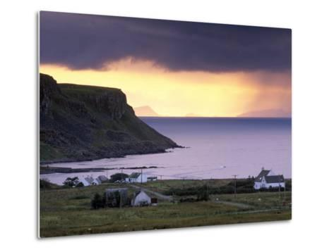 Sunset and Stormy Weather Near Bornesketaig, Trotternish, Isle of Skye, Inner Hebrides, Scotland-Patrick Dieudonne-Metal Print