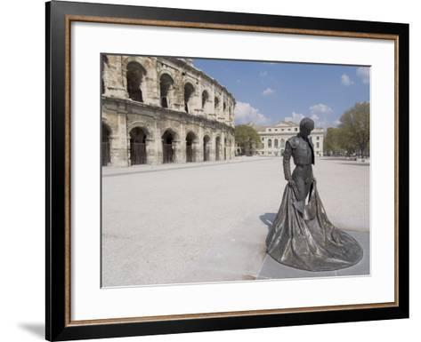 Roman Arena with Bullfighter Statue, Nimes, Languedoc, France, Europe-Ethel Davies-Framed Art Print