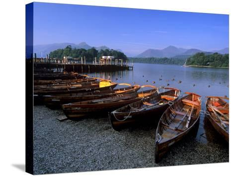 Boats on Derwent Water at Keswick, Lake District National Park, Cumbria, England, United Kingdom-Patrick Dieudonne-Stretched Canvas Print