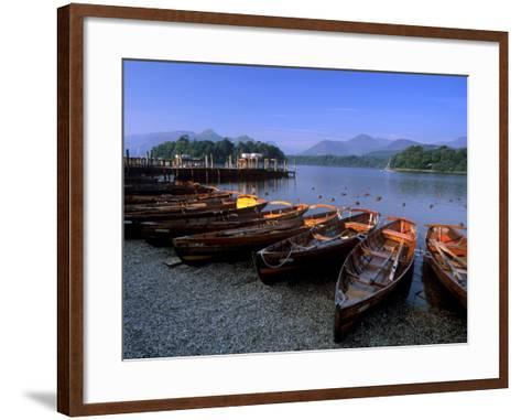 Boats on Derwent Water at Keswick, Lake District National Park, Cumbria, England, United Kingdom-Patrick Dieudonne-Framed Art Print