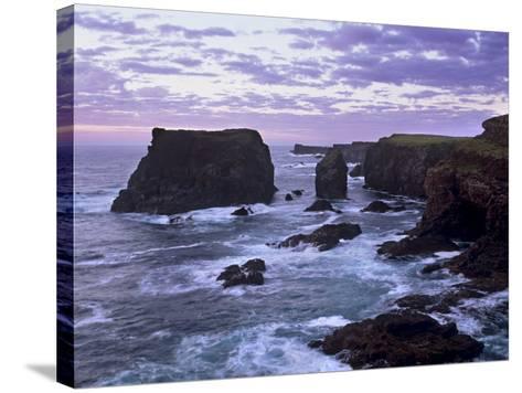 Sunset at Eshaness Basalt Cliffs, with Moo Stack on Left, Northmavine, Shetland Islands, Scotland-Patrick Dieudonne-Stretched Canvas Print
