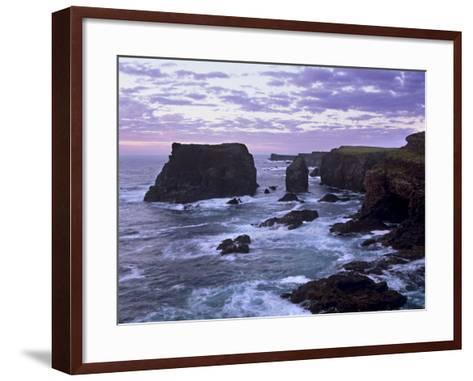Sunset at Eshaness Basalt Cliffs, with Moo Stack on Left, Northmavine, Shetland Islands, Scotland-Patrick Dieudonne-Framed Art Print