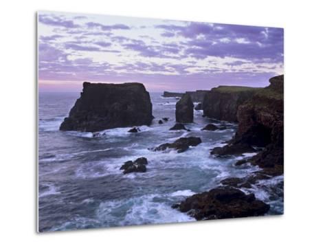 Sunset at Eshaness Basalt Cliffs, with Moo Stack on Left, Northmavine, Shetland Islands, Scotland-Patrick Dieudonne-Metal Print
