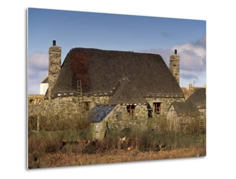Thatched House, Howmore, South Uist, Outer Hebrides, Scotland, United Kingdom, Europe-Patrick Dieudonne-Metal Print
